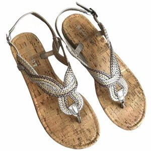 REPORT Shoes Silver Sandals Flats Size 7.5